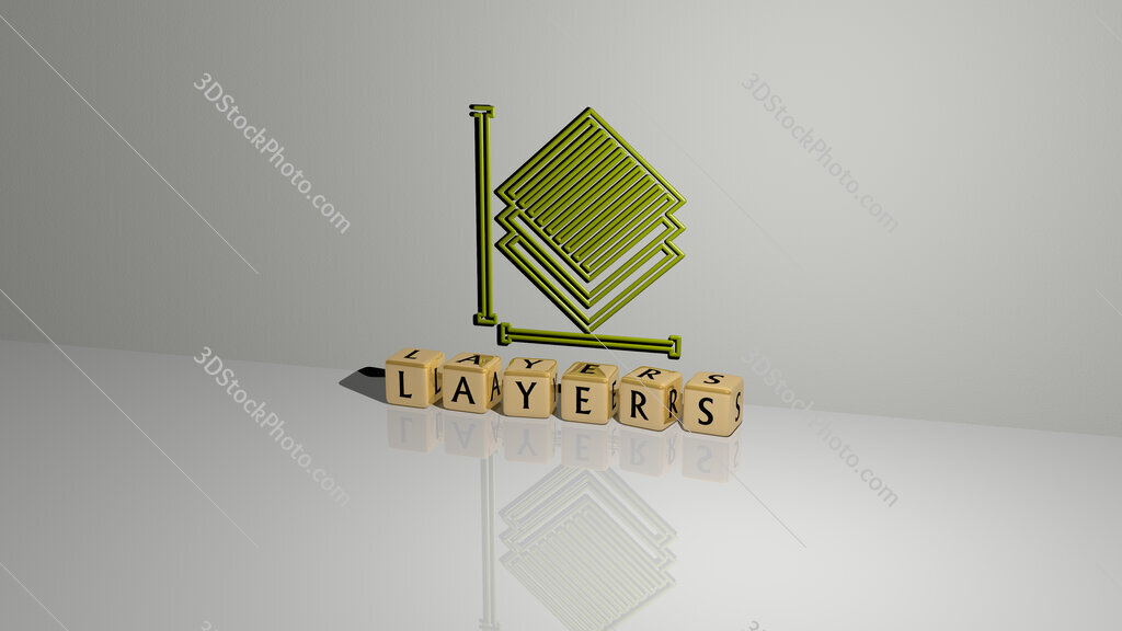 layers text of cubic dice letters on the floor and 3D icon on the wall