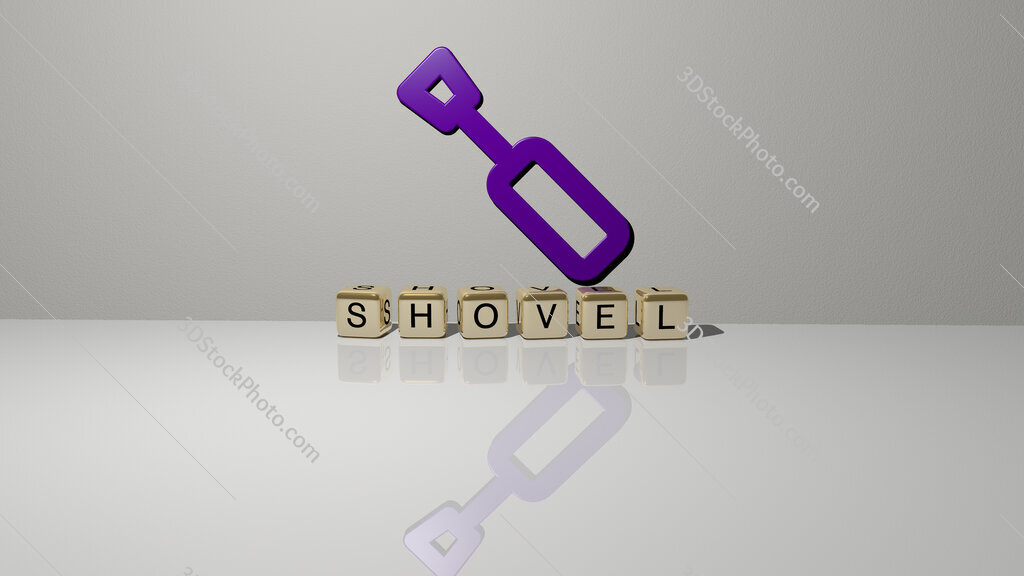 shovel text of cubic dice letters on the floor and 3D icon on the wall