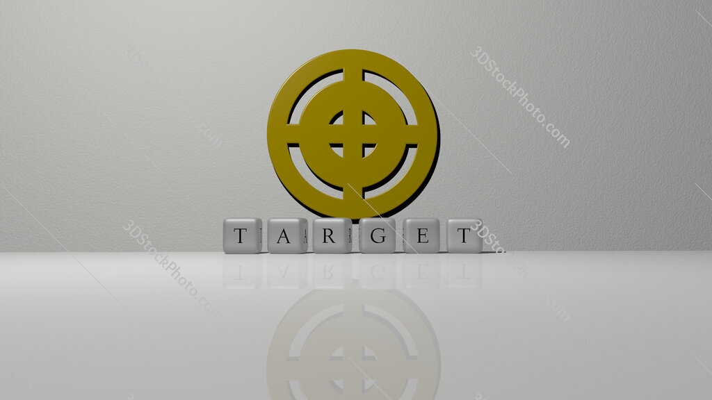target text of cubic dice letters on the floor and 3D icon on the wall