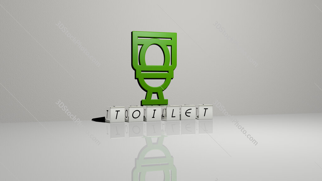 toilet text of cubic dice letters on the floor and 3D icon on the wall