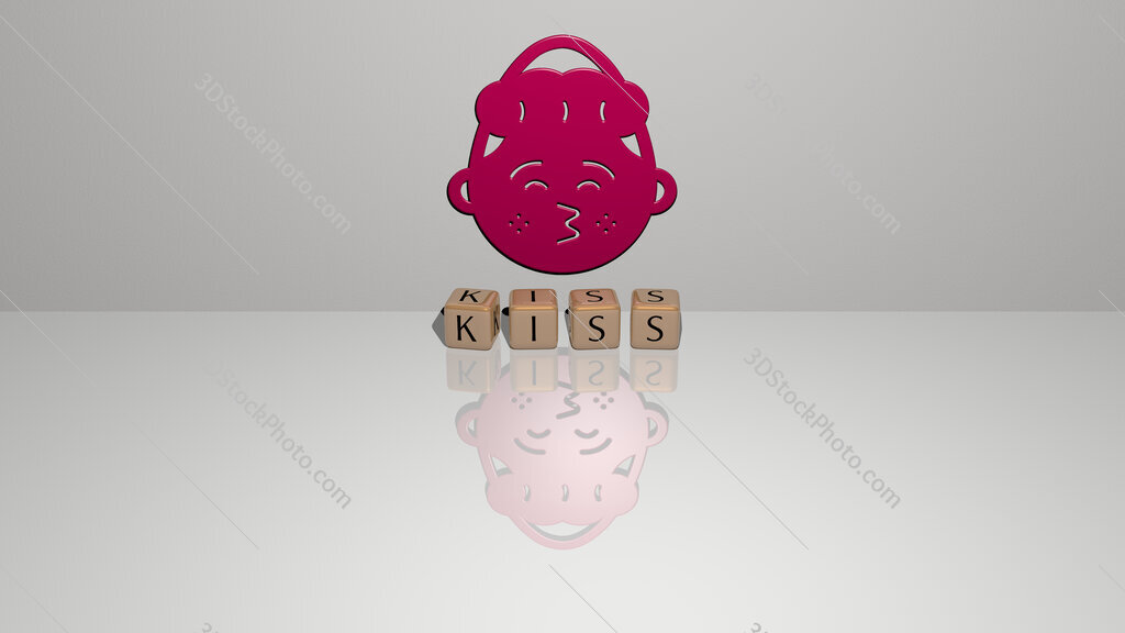 kiss text of cubic dice letters on the floor and 3D icon on the wall