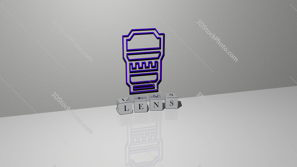 lens text of cubic dice letters on the floor and 3D icon on the wall