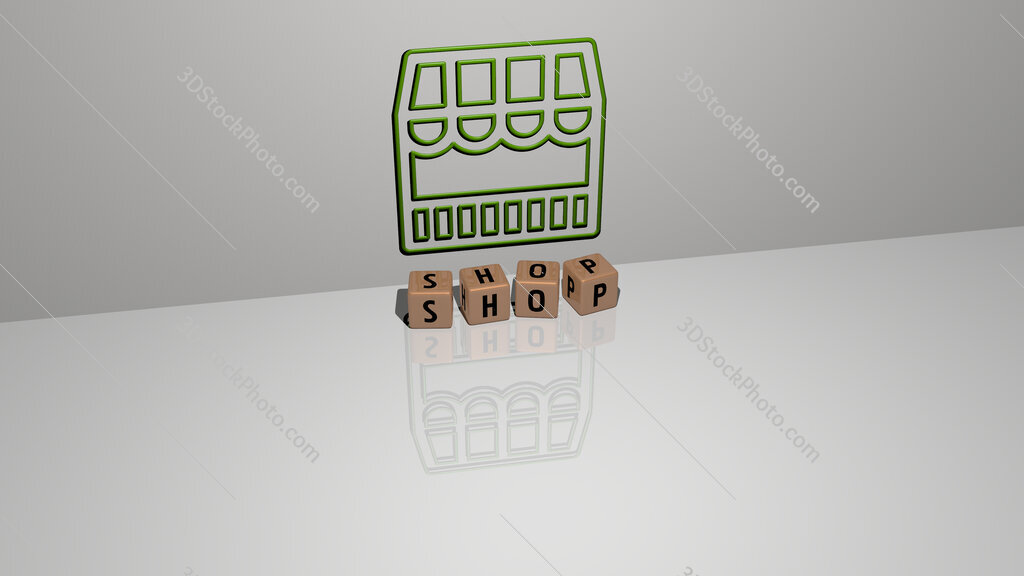 shop text of cubic dice letters on the floor and 3D icon on the wall