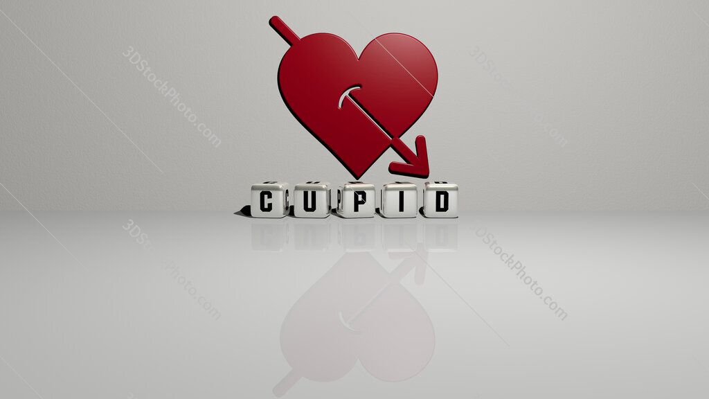 cupid text of cubic dice letters on the floor and 3D icon on the wall