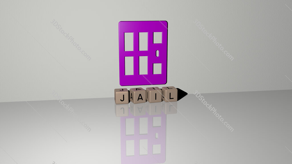 jail text of cubic dice letters on the floor and 3D icon on the wall