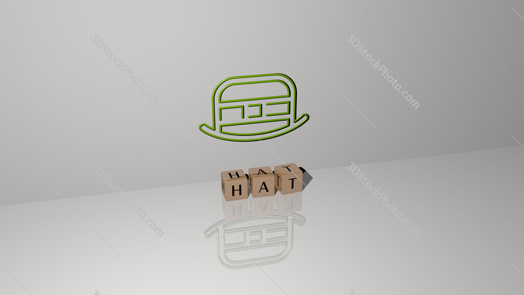 hat text of cubic dice letters on the floor and 3D icon on the wall