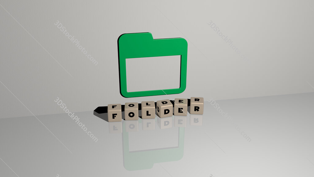 folder text of cubic dice letters on the floor and 3D icon on the wall
