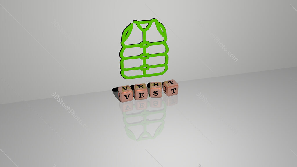 vest text of cubic dice letters on the floor and 3D icon on the wall