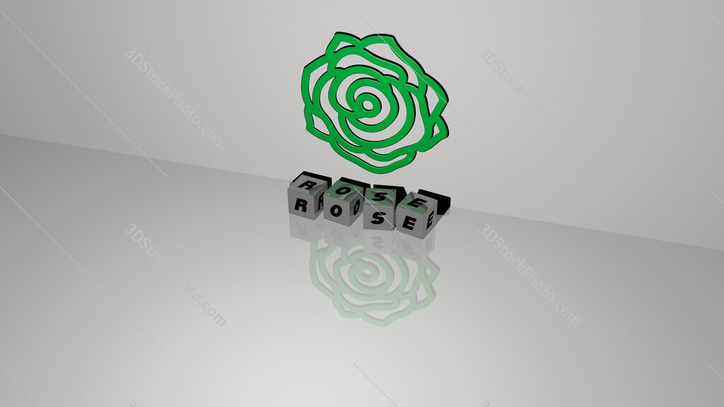 Rose text of cubic dice letters on the floor and 3D icon on the wall