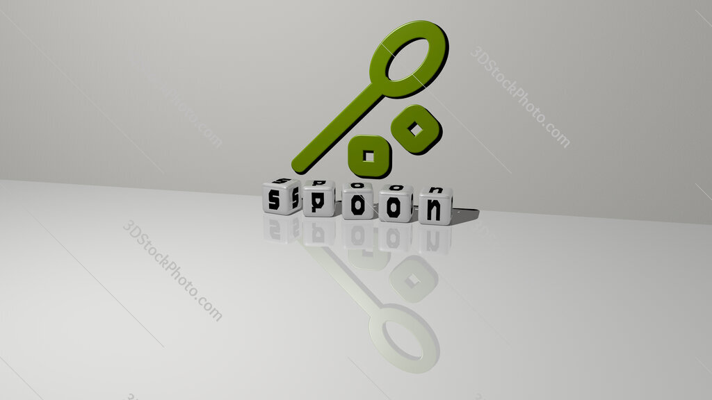 spoon text of cubic dice letters on the floor and 3D icon on the wall