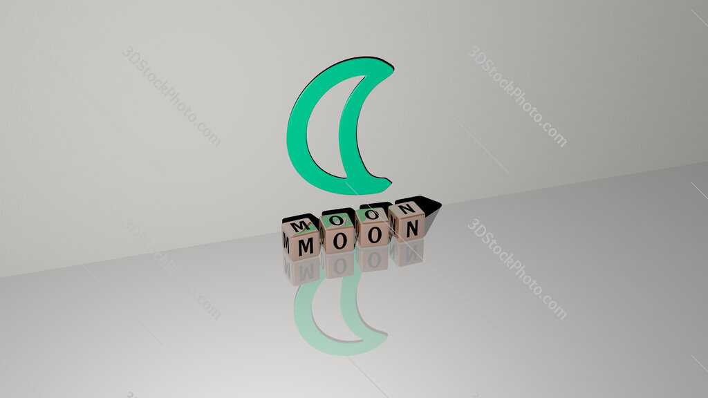 moon text of cubic dice letters on the floor and 3D icon on the wall