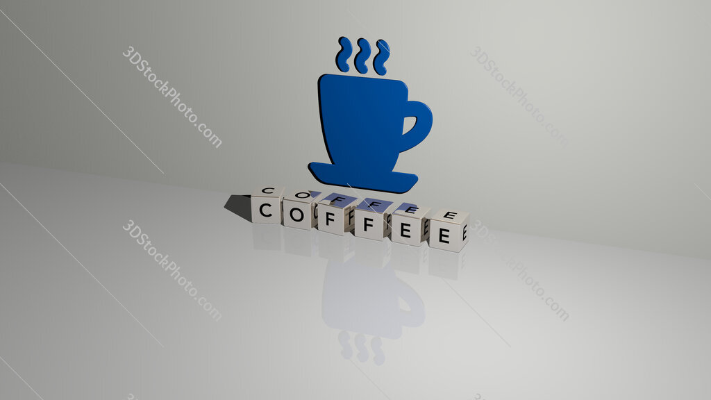 Coffee text of cubic dice letters on the floor and 3D icon on the wall