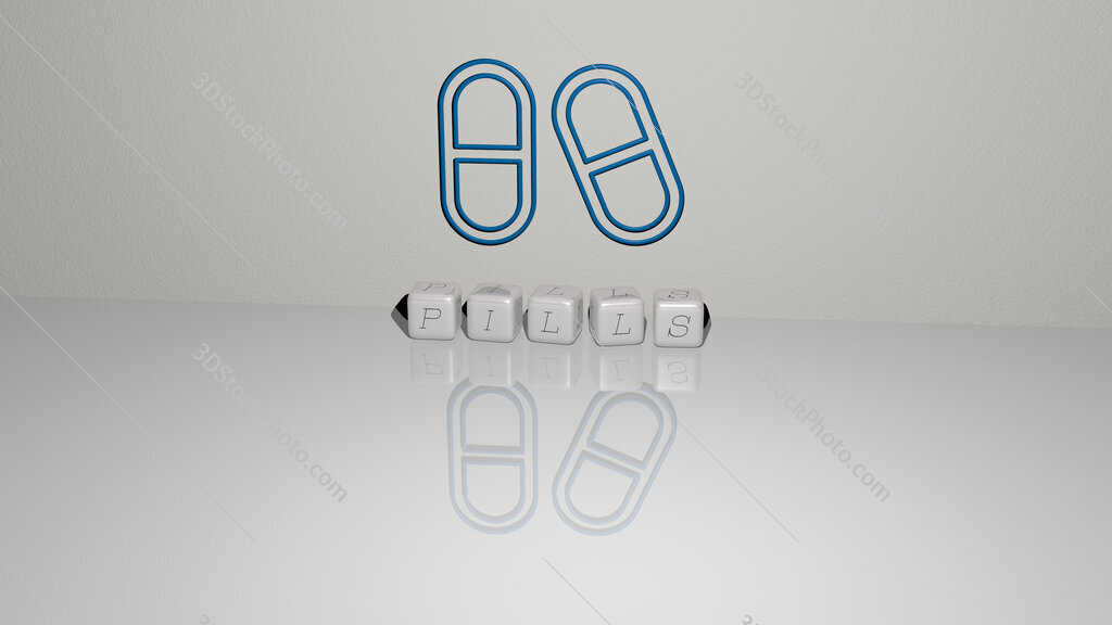 pills text of cubic dice letters on the floor and 3D icon on the wall