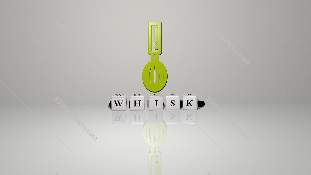 whisk text of cubic dice letters on the floor and 3D icon on the wall