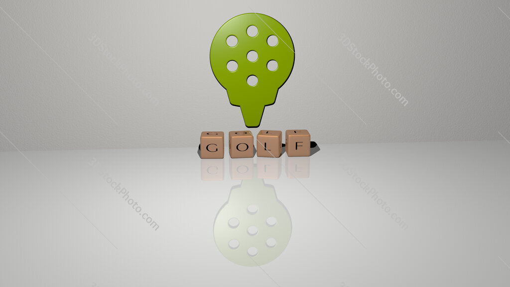 golf text of cubic dice letters on the floor and 3D icon on the wall