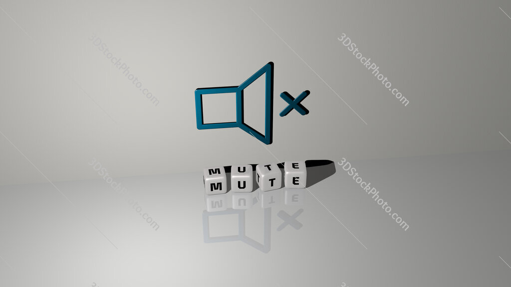 Mute text of cubic dice letters on the floor and 3D icon on the wall
