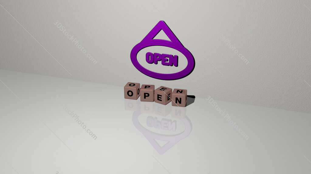 open text of cubic dice letters on the floor and 3D icon on the wall