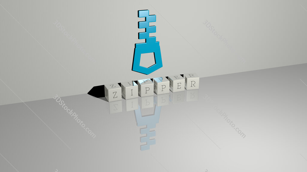 zipper text of cubic dice letters on the floor and 3D icon on the wall