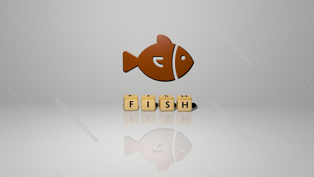 fish text of cubic dice letters on the floor and 3D icon on the wall