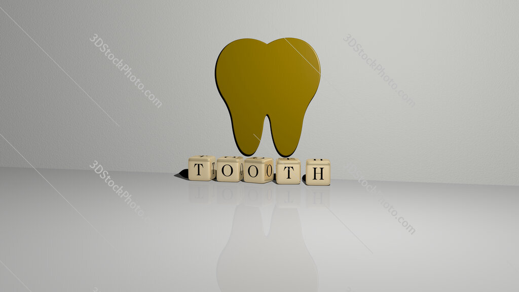 tooth text of cubic dice letters on the floor and 3D icon on the wall