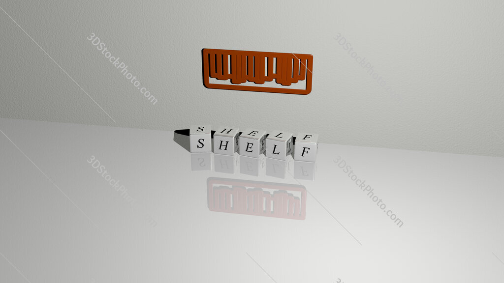 shelf text of cubic dice letters on the floor and 3D icon on the wall