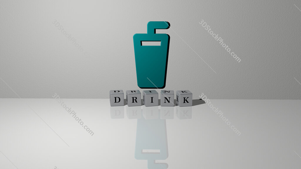 drink text of cubic dice letters on the floor and 3D icon on the wall