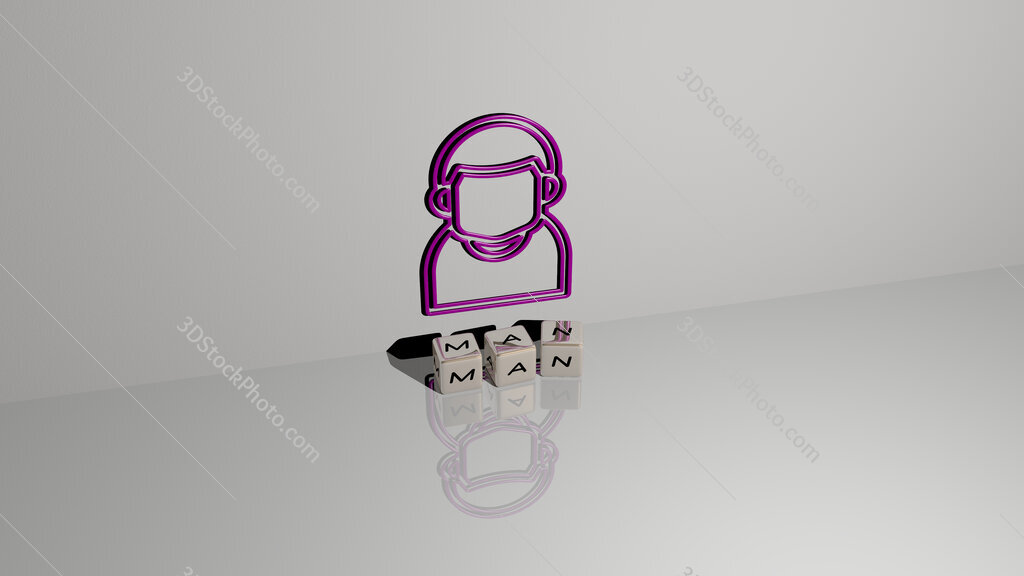 man text of cubic dice letters on the floor and 3D icon on the wall