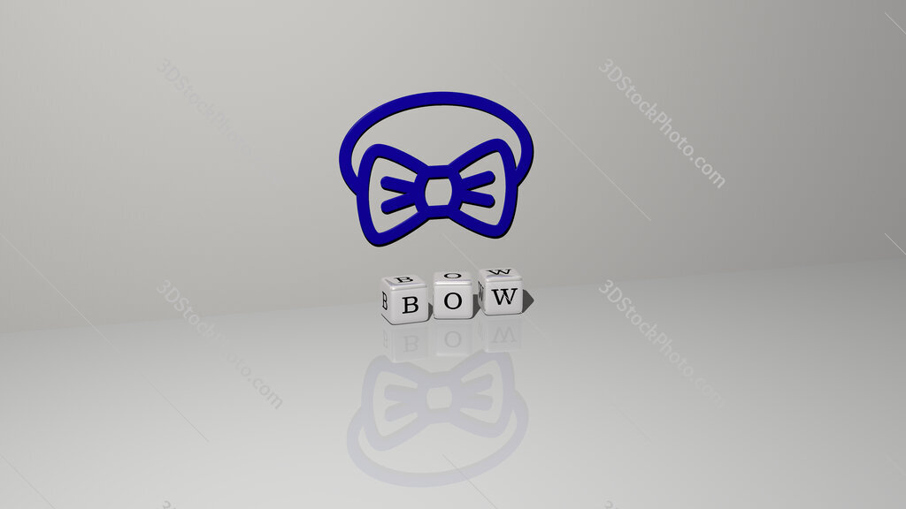 bow text of cubic dice letters on the floor and 3D icon on the wall