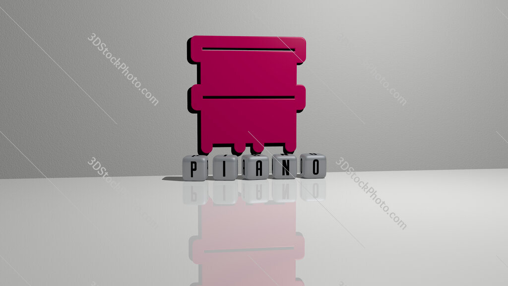piano text of cubic dice letters on the floor and 3D icon on the wall