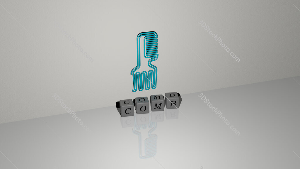 comb text of cubic dice letters on the floor and 3D icon on the wall