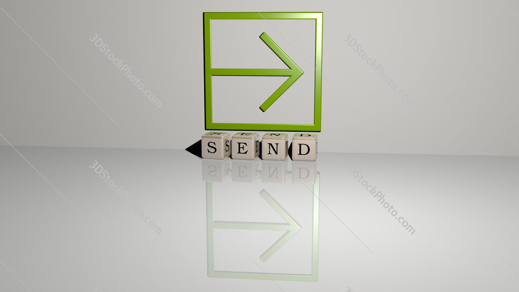 send text of cubic dice letters on the floor and 3D icon on the wall