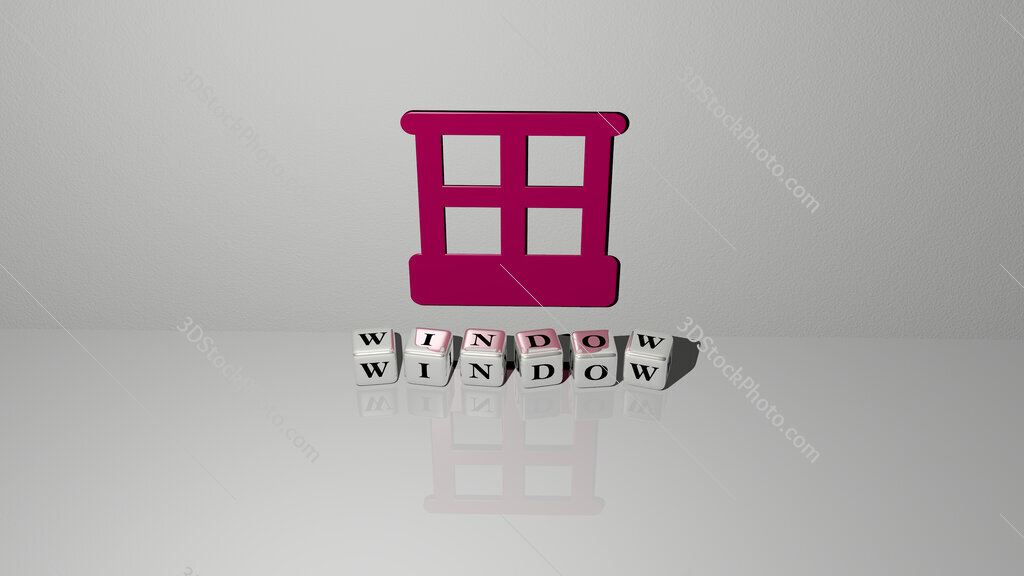 window text of cubic dice letters on the floor and 3D icon on the wall