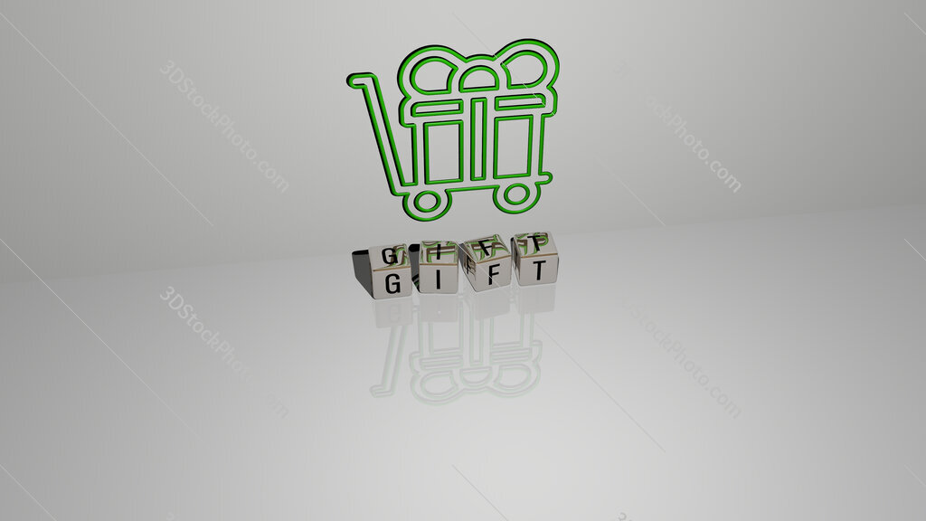 gift text of cubic dice letters on the floor and 3D icon on the wall