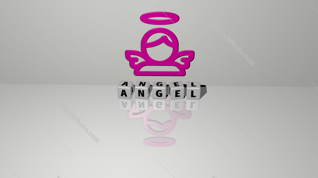angel text of cubic dice letters on the floor and 3D icon on the wall