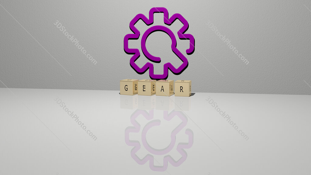 gear text of cubic dice letters on the floor and 3D icon on the wall