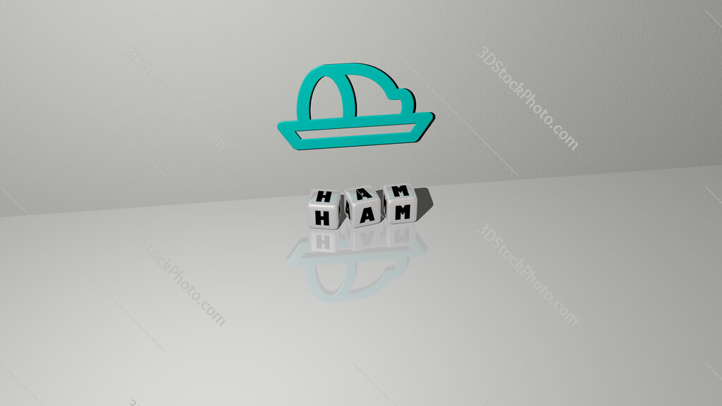 ham text of cubic dice letters on the floor and 3D icon on the wall