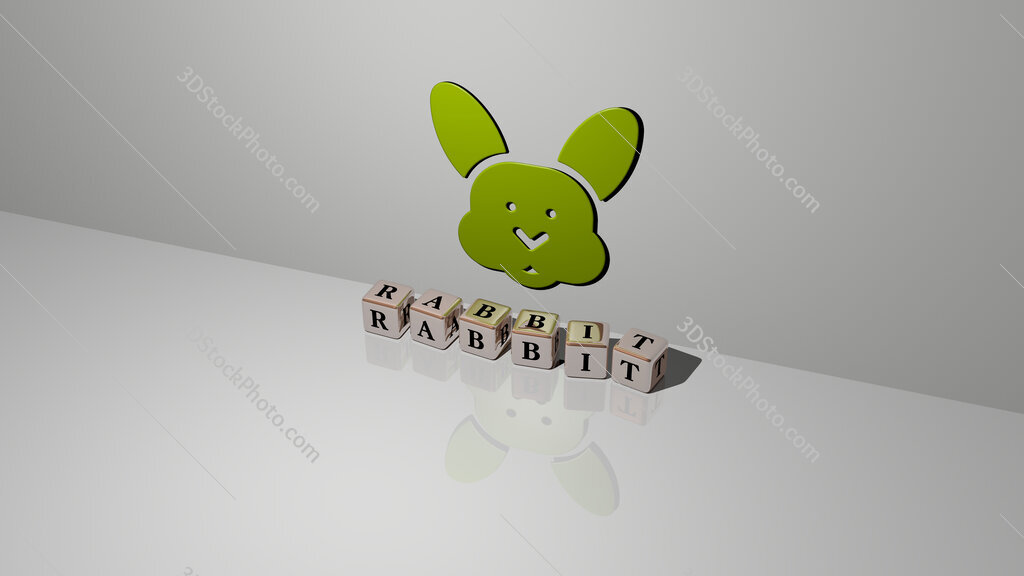 rabbit text of cubic dice letters on the floor and 3D icon on the wall