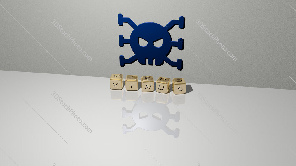 virus text of cubic dice letters on the floor and 3D icon on the wall
