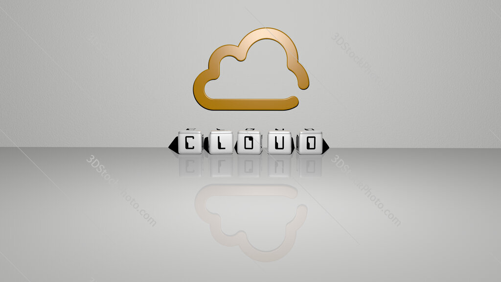 cloud text of cubic dice letters on the floor and 3D icon on the wall
