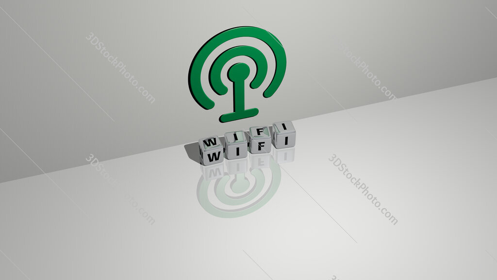 wifi text of cubic dice letters on the floor and 3D icon on the wall
