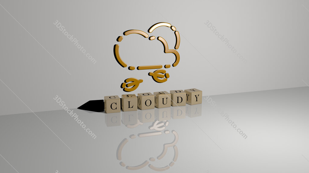 cloudy text of cubic dice letters on the floor and 3D icon on the wall