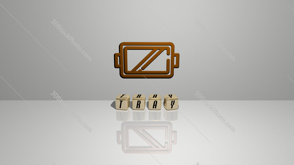 tray text of cubic dice letters on the floor and 3D icon on the wall