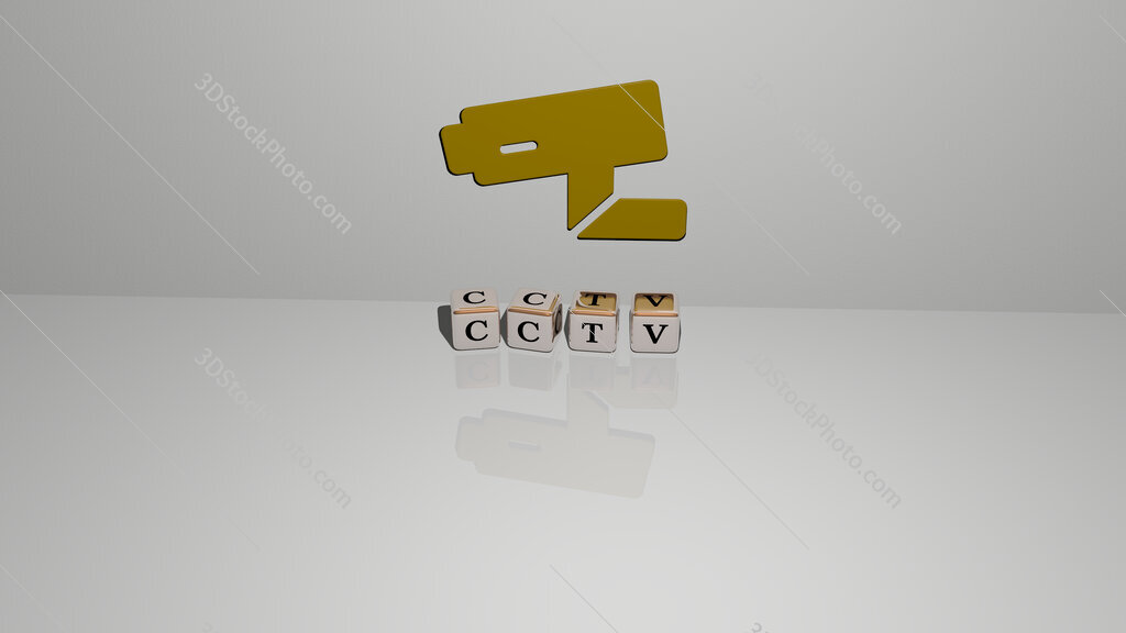 cctv text of cubic dice letters on the floor and 3D icon on the wall