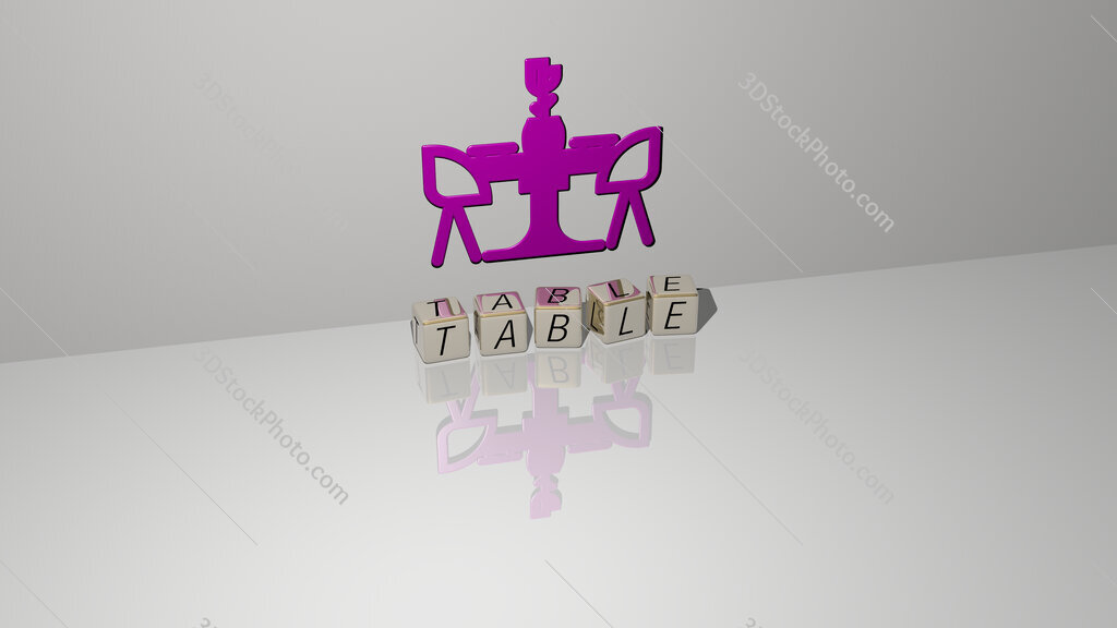 table text of cubic dice letters on the floor and 3D icon on the wall