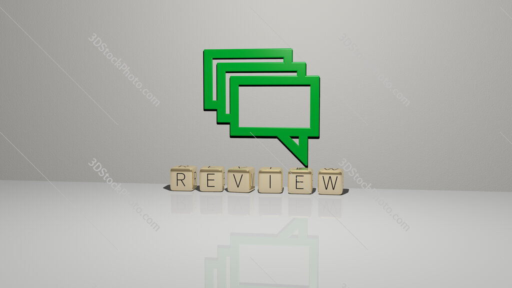 review text of cubic dice letters on the floor and 3D icon on the wall