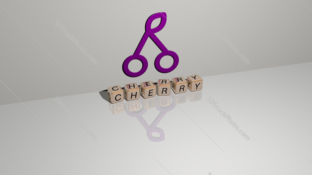 cherry text of cubic dice letters on the floor and 3D icon on the wall