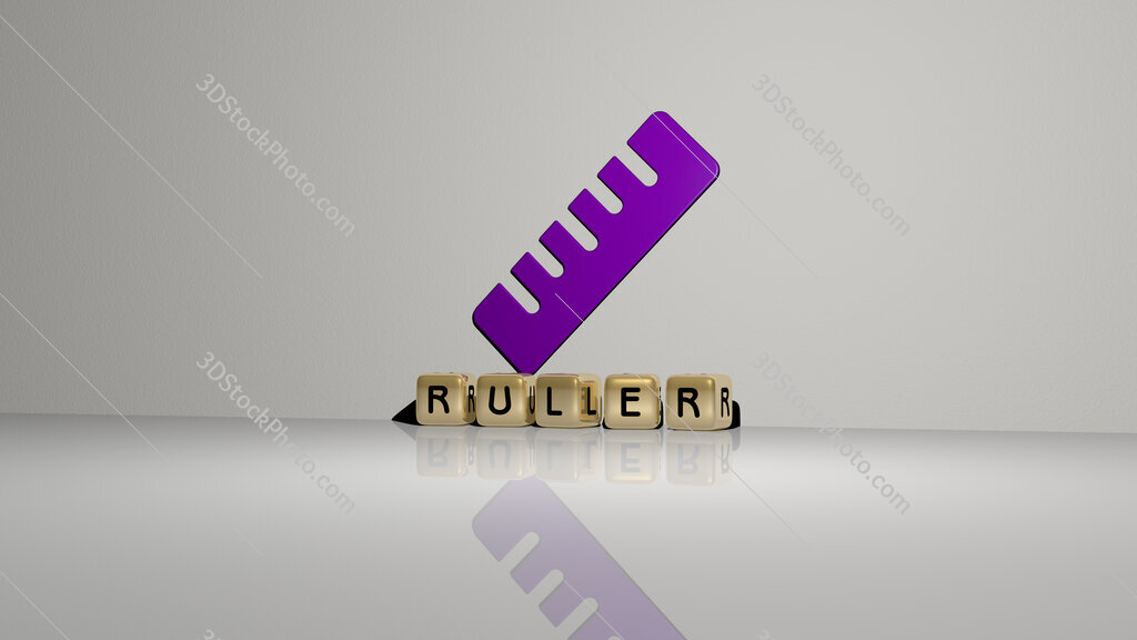 ruler text of cubic dice letters on the floor and 3D icon on the wall