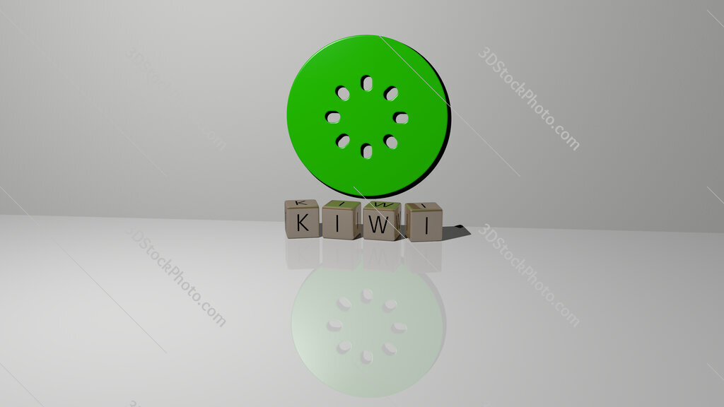 kiwi text of cubic dice letters on the floor and 3D icon on the wall