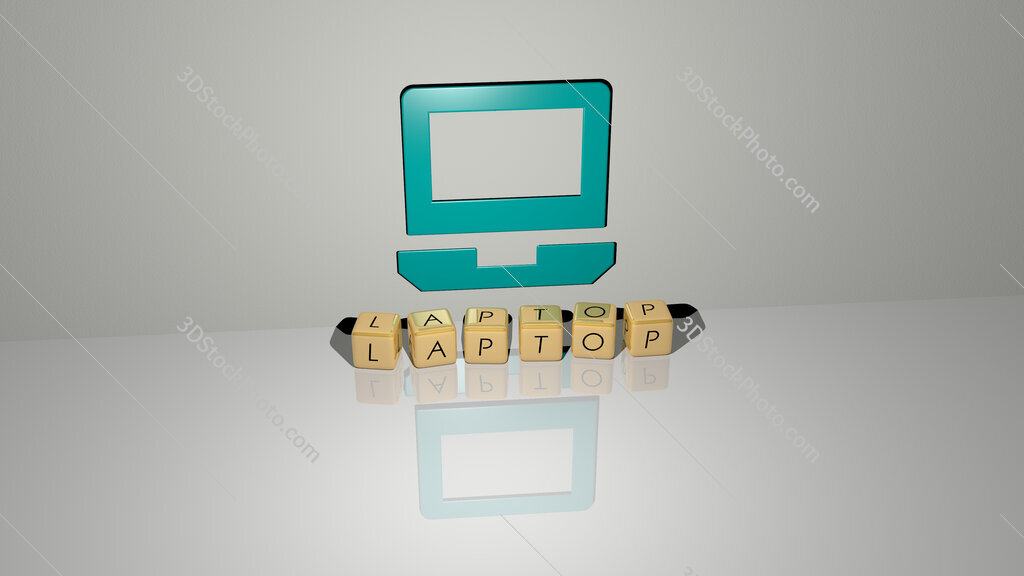 laptop text of cubic dice letters on the floor and 3D icon on the wall