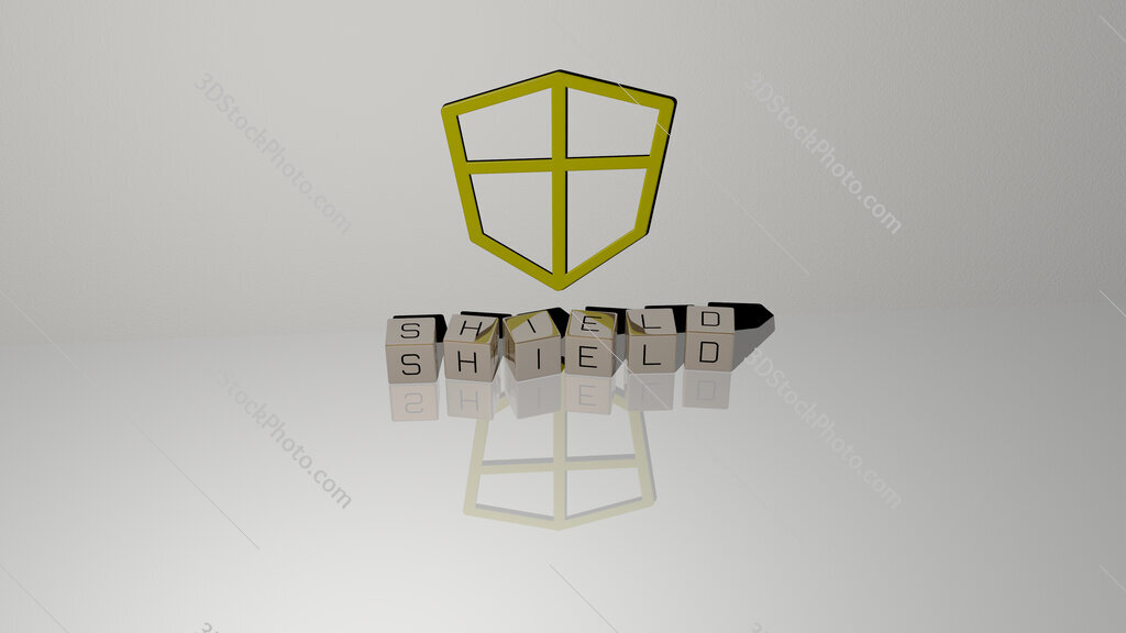 Shield text of cubic dice letters on the floor and 3D icon on the wall